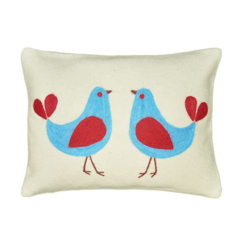 Cottage Home Two Birds Wool 12 Inch Throw Pillow