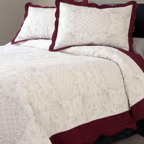 Windsor Home Wilma Embroidered 3-piece Quilt Set