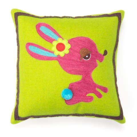 Cottage Home Bunny Wool 12 Inch Throw Pillow