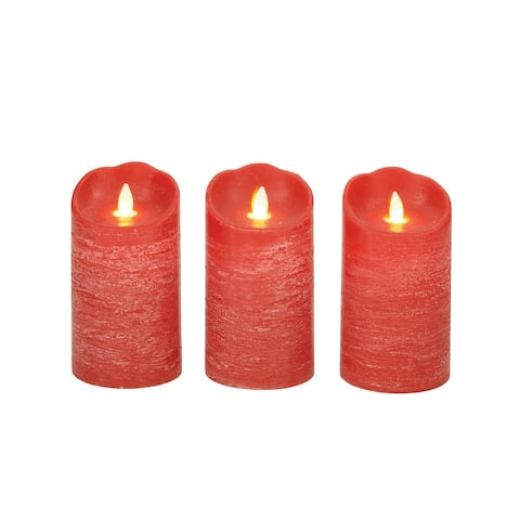 Copper Grove Seymour Red LED Flicker Candles (Set of 3)