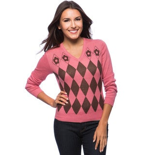 Dolores Piscotta Women's Argyle Cashmere Blend V-neck Sweater
