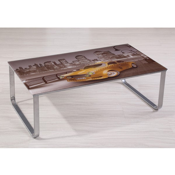 Carter Scenery Pattern Glass Top Coffee Table