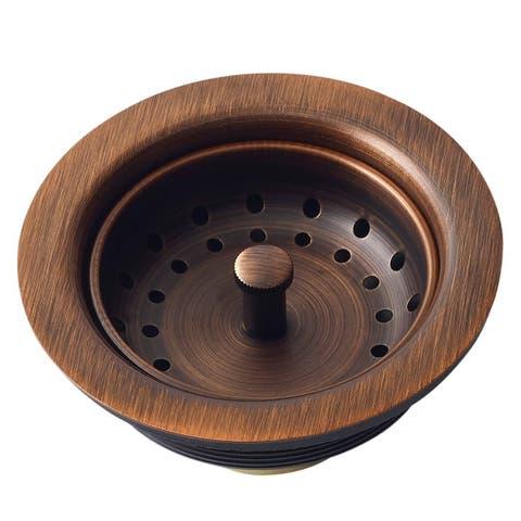 """Sinkology Kitchen Sink 3.5"""" Antique Copper Finished Solid Brass Kitchen Sink Strainer - Brown"""