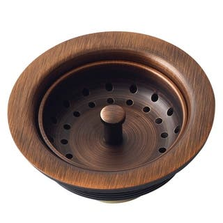 "Sinkology Kitchen Sink 3.5"" Antique Copper Finished Solid Brass Kitchen Sink Strainer - Brown|https://ak1.ostkcdn.com/images/products/10180816/P17307481.jpg?impolicy=medium"