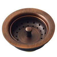 "Sinkology Kitchen Sink 3.5"" Antique Copper Finished Solid Brass Kitchen Sink Strainer - Brown"