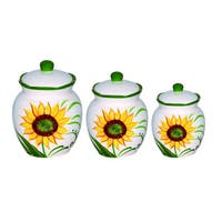 Lorren Home Trend Sunflower Design Yellow Ceramic Deluxe 3-piece Canister Set