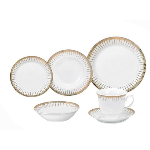 Lorren Home Trends Aria Porcelain Dinnerware 24-piece Set