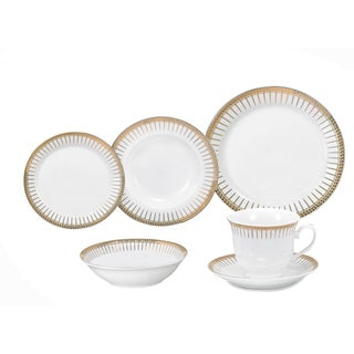Lorren Home Trends Aria Porcelain Dinnerware 24-piece Set