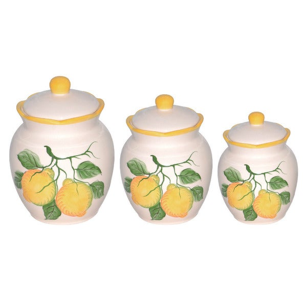 Loren Home Trend Lemon Design White Green Yellow Ceramic Deluxe Canister Set Of 3 Free Shipping Today 10180863