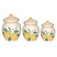 Loren Home Trend Lemon Design White/Green/Yellow Ceramic Deluxe Canister (Set of 3)