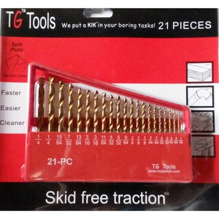 21-piece Titanium Coated High Speed Drill Bit Set - brown15