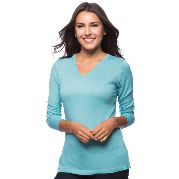 Dolores Piscotta Women's Eco-Blend Cashmere V-neck Top