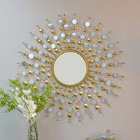 Eliane Round Sunburst Mirror - Gold