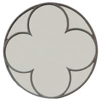 Connell Round Quatrefoil Mirror - Grey