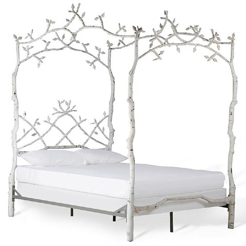 Corsican White Iron Mature Trees Queen Bed Frame