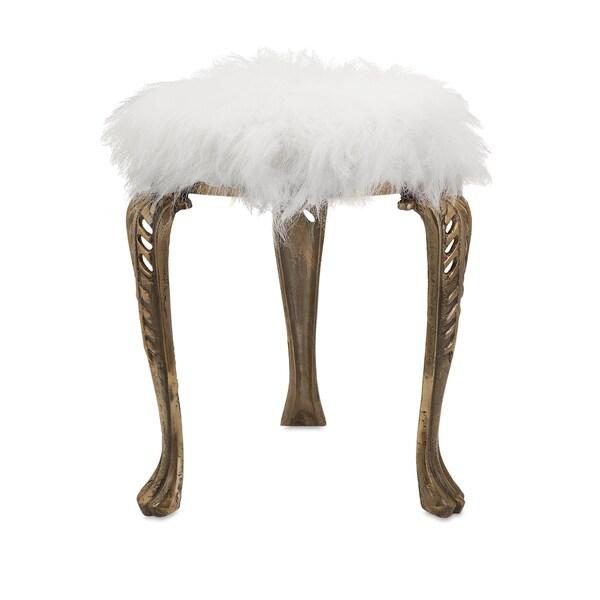Shop Nikki Chu Neely White Fur Stool Free Shipping Today
