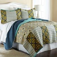 Amraupur Overseas Taurus 100-percent Cotton 3-piece Reversible Quilt Set