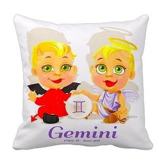 Mia Lee Baby Zodiac Gemini Throw Pillow