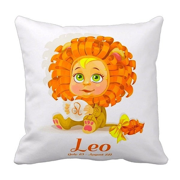Mia Lee Baby Zodiac Leo Throw Pillow