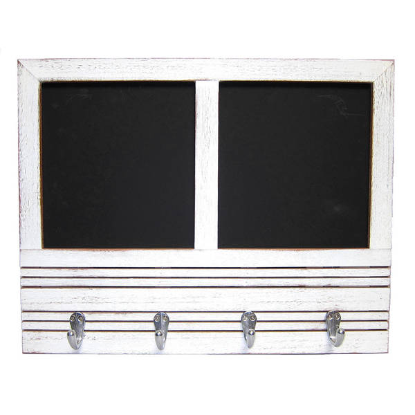 Recycled Wood Message Board with Double Chalkboards and 4 Hooks