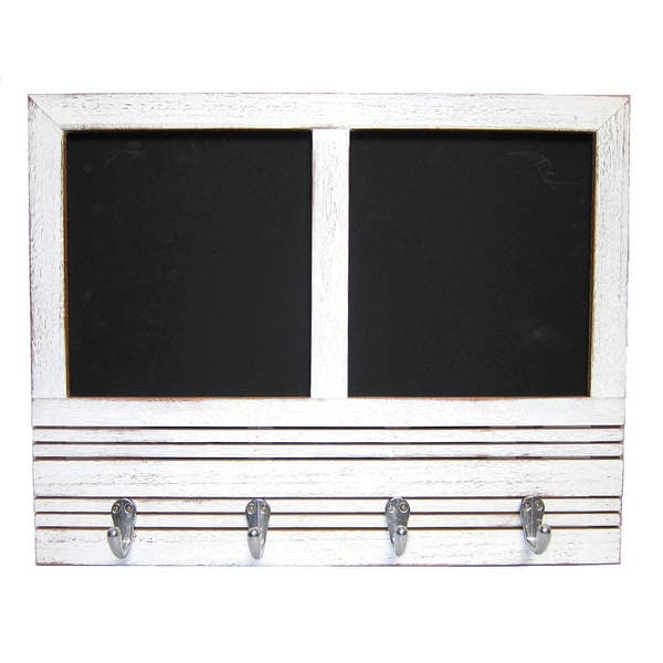 Handmade Recycled Wood Message Board with Double Chalkboards and 4 Hooks (Thailand)