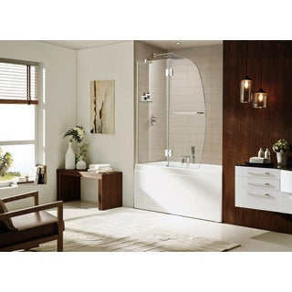 Paragon Bath AURORA Premium 10 mm Thick Clear Tempered Glass 48 W x 58 H Frame-less Chrome Shower Door