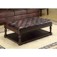 Lazzaro Leather Ginney Tufted Shelf Leather Ottoman