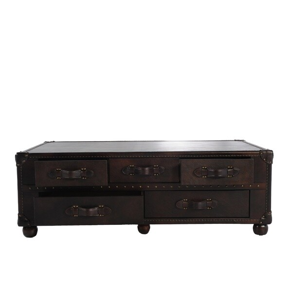Coffee Table Leather Drawers: Shop Lazzaro Leather General Ten Drawer Leather Steamer