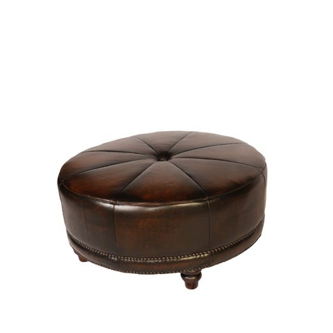 Lazzaro Leather Cindy Round Leather Ottoman
