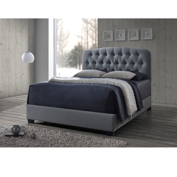 Baxton Studio Romeo Contemporary Espresso Button-tufted Grey Upholstered Bed