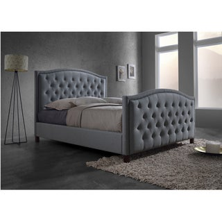 Baxton Studio Sarter Contemporary Button-tufted Grey Fabric Upholstered King-size Platform Bed