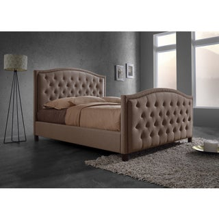 Baxton Studio Fawner Contemporary Brown Fabric Upholstered Arched King-size Platform Bed