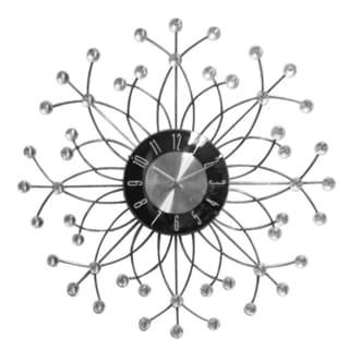 Retro Modern Metal Starburst Rhinestone Jewel 20-inch Clock