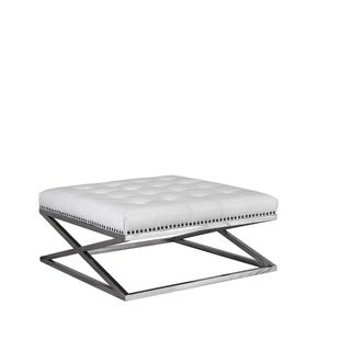 Lazzaro Leather Peyton Stainless Base Leather Tufted Cocktail Table