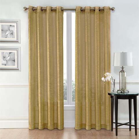 "Metallic Sheer Grommet Curtain Panel Pair 54"" x 84"" Each Curtains for Living Room, Bedroom Panels, Family Room"