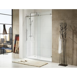 Paragon Bath TRIDENT LUX Premium 10mm Clear Tempered Glass 60 W x 76 H Frameless Sliding Chrome Shower Door