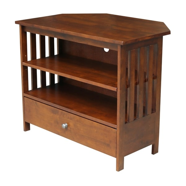 Mission Solid Parawood Corner Entertainment Stand