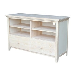 Solid Parawood Entertainment Stand with Two Drawers