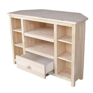 Solid Parawood Corner Entertainment Stand