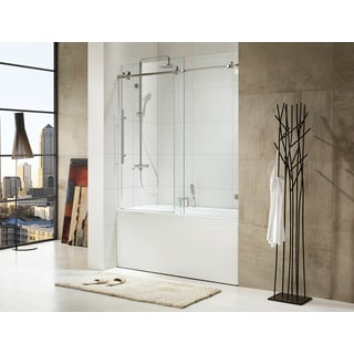 Paragon Bath TRIDENT Premium (10mm) Thick Clear Tempered Glass, 59 1/2 in. W x 62 in. H, Frameless Sliding Shower Door in Chrome