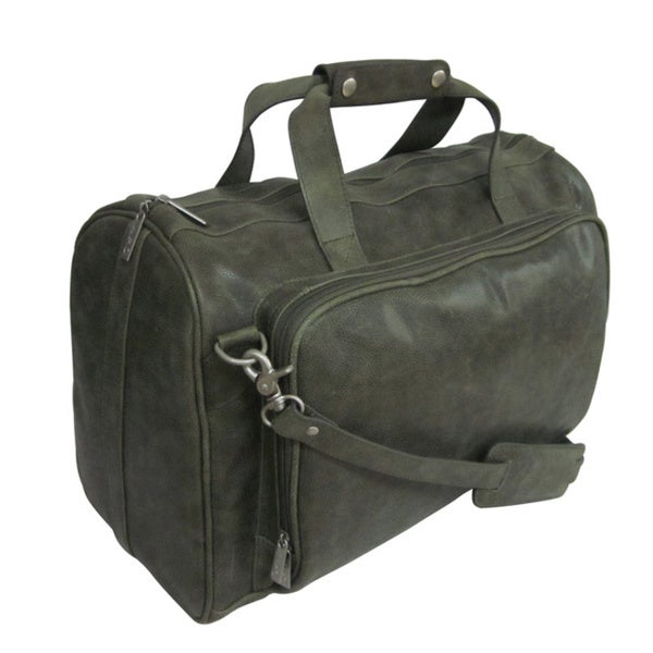 Amerileather 18-inch Distressed Moss Green Leather Carry-on Weekend Duffel