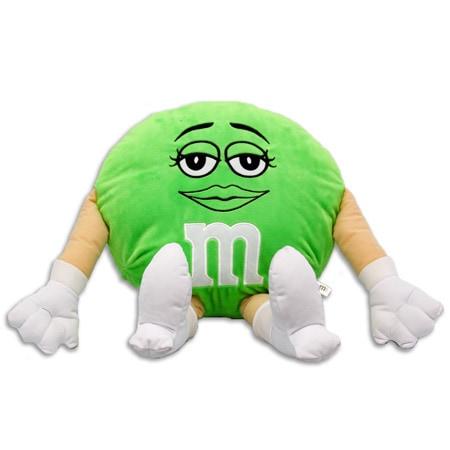 M&M 20-inch Plush Green Pillow