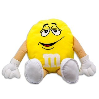 M&M 20-inch Plush Yellow Pillow