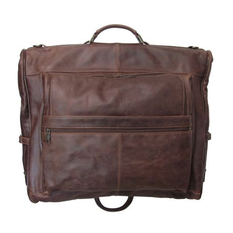 Amerileather Distressed Leather 3-suit Garment Bag