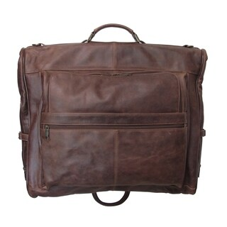 Amerileather Distressed Leather 3-suit Garment Bag