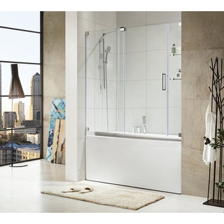 Paragon Bath - OASIS-E - Premium (10mm) Thick Clear Tempered Glass, 60 in. W x 58 in. H, Frameless Sliding Shower Door in Chrome