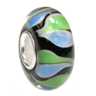 Queenberry Sterling Silver Round Murano Green and Blue Glass European Bead Charm
