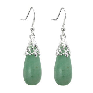 Queenberry Sterling Silver Filigree Flower Teardrop Green Aventurine Charm Bail Dangle Earrings