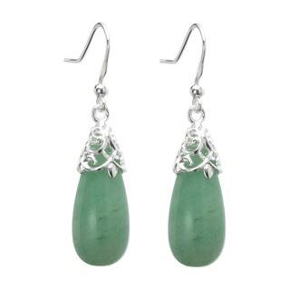 Queenberry Sterling Silver Filigree Flower Teardrop Green Aventurine Charm Bail Dangle Earrings