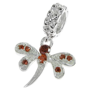 Queenberry Sterling Silver Dragonfly Cubic Zirconia Siam Red Dangle European Bead Charm